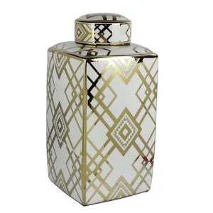 Captivating Square Decorative Ceramic Jar, White And Gold