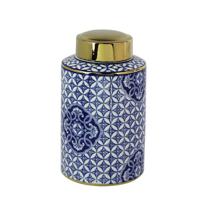 Designed Ceramic Covered Jar With Round Lid, Blue And White