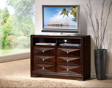 Wooden TV Console With Storage Space, Merlot Brown