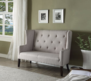 Imperial Settee, Beige Fabric & Espresso Brown