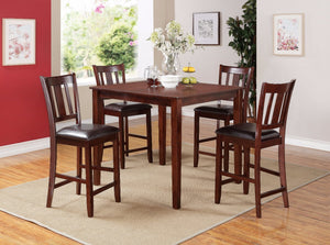 Elegant Counter Height Set, Espresso Brown, 5 Piece Pack