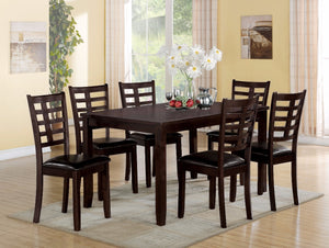 Wooden Dining Set, Espresso Brown, 7 Piece Pack