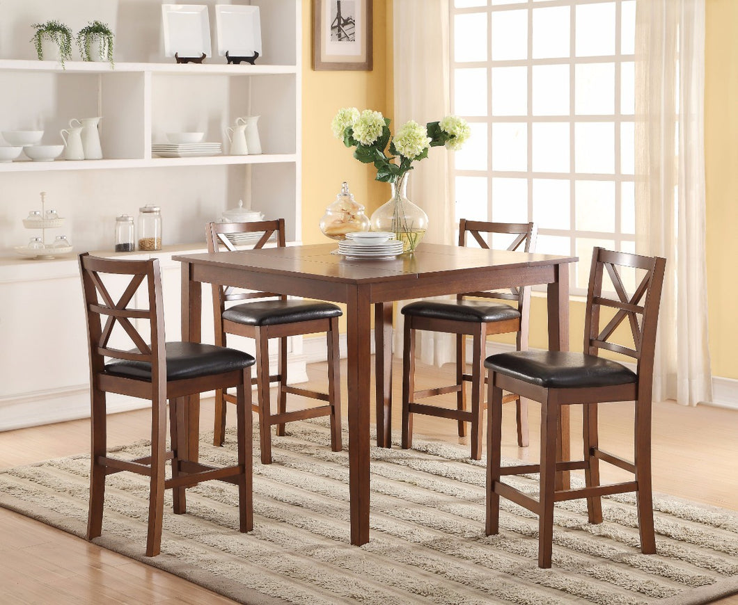 Wooden Counter Height Set, Espresso & Walnut Brown, 5 Piece Pack