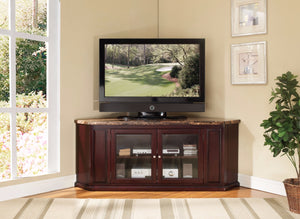 Corner TV Stand, Faux Marble & Espresso Brown