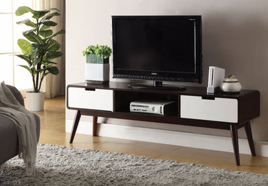 Modish TV Stand, Espresso & White