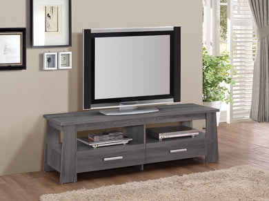 Rustic TV Stand, Dark Gray Oak