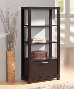 Wooden Bookcase With 3 Shelves & Door, Espresso Brown