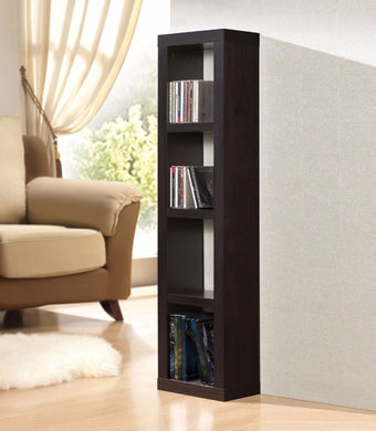 Wooden Bookcase Or CD/DVD Unit, Espresso Brown