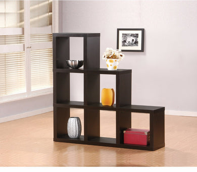 Wooden Bookcase In Cube Pattern, Espresso Brown