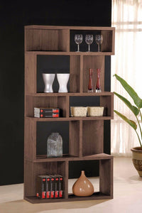 Capacious Wooden Bookcase, Dark Oak Brown