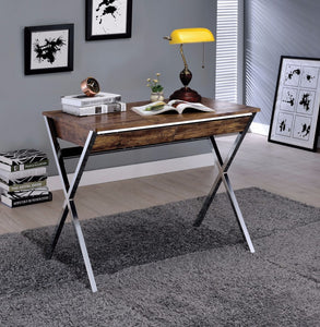 Writing Desk With Wooden Top, Weathered Oak & Chrome Silver