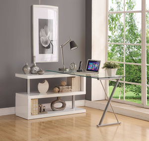 Writing Desk with Swivel, Clear Glass & White