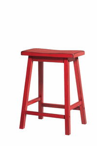 Wooden Counter Height Stool (Set-2), Antique Red