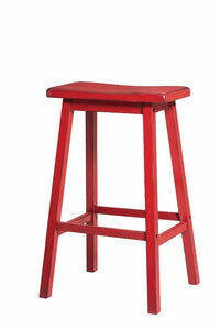 Wooden Bar Stool (Set-2), Antique Red