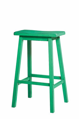 Wooden Bar Stool (Set-2), Antique Green