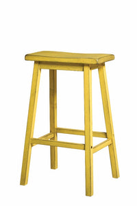 Wooden Bar Stool (Set-2), Antique Yellow