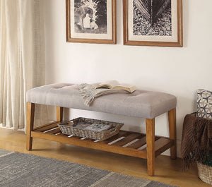 Wooden Bench, Light Gray & Oak