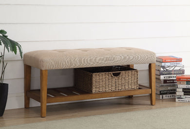 Wooden Bench, Beige & Oak