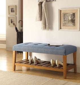 Wooden Bench, Blue & Oak