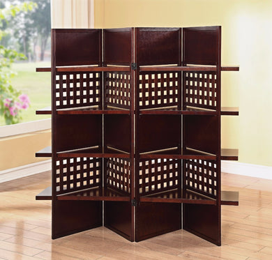 4-Panel Wooden Screen, Dark Brown