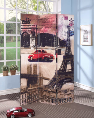 3-Panel Wooden Screen, Paris Scenery, Multicolor