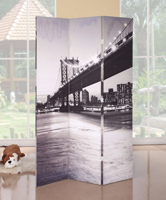 3-Panel Wooden Screen, Bridge Scenery, Black and White