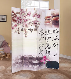 4-Panel Wooden Screen, Alluring Scenery, Multicolor