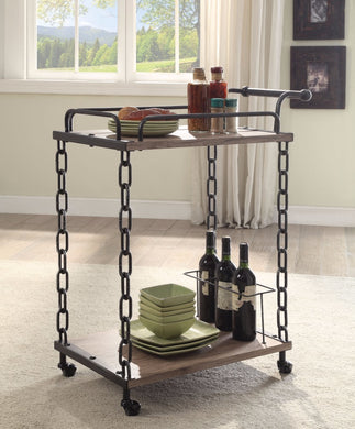 Retro Serving Cart, Rustic Oak & Antique Black