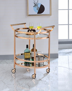 Oval Metal Serving Cart, Clear Glass & Copper
