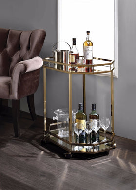 Metal Serving Cart, Mirror & gold