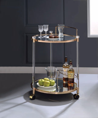 Round Metal Serving Cart, Clear Glass & Gold