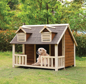 Wooden Pet House, Cream & Oak Brown