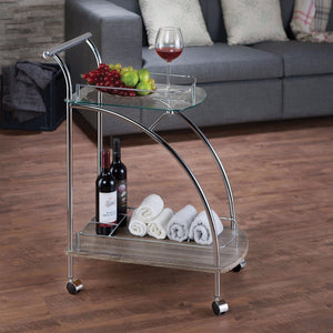 Stylish Serving Cart, Clear Glass & Chrome Silver