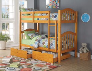 Heartland Twin/Twin Bunk Bed , Honey Oak