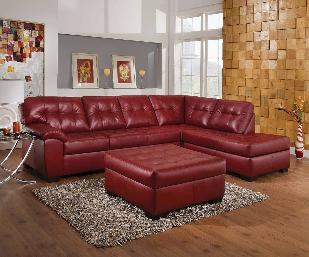 Sectional Sofa With Right Front Chaise, Red Leather-Aired