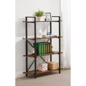 Sturdy Wooden Bracket Bookcase With 4 Shelves, Brown