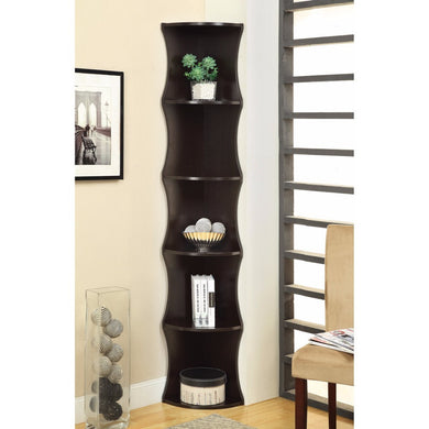 Wiggly Corner Shelf Wooden Bookcase, Brown