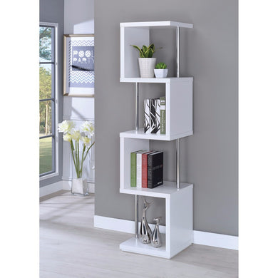 Modern Four Tier Wood And Metal  Bookcase, White