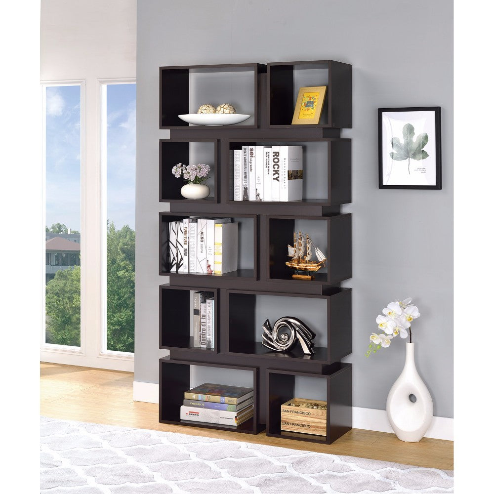 Sturdy Geometrically Designed Wooden Bookcase, Brown