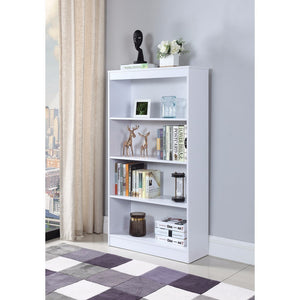 Sophisticated Wooden Bookcase With 4 Shelves, White