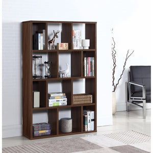 Spacious Wooden Bookcase With 12 Shelves, Brown