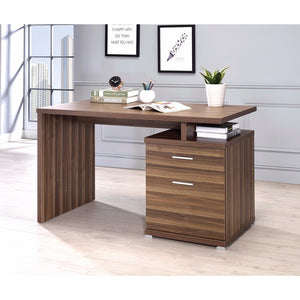 Sturdy Contemporary Office Desk with Cabinet, Brown