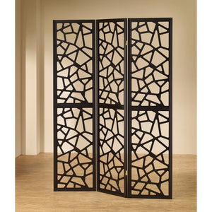 Intricate Mosaic Cutouts Folding Screen, Black