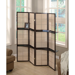 Stylish Four Panel Folding Screen With Shelves, Brown