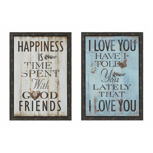 Happiness Wall Art - Set of 2, Multicolor