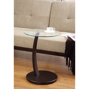 Round Accent Table with Glass Table Top, Clear And Brown
