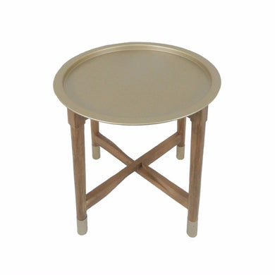 Wood And Round Metal Tray Top Accent Table, Gold And Brown