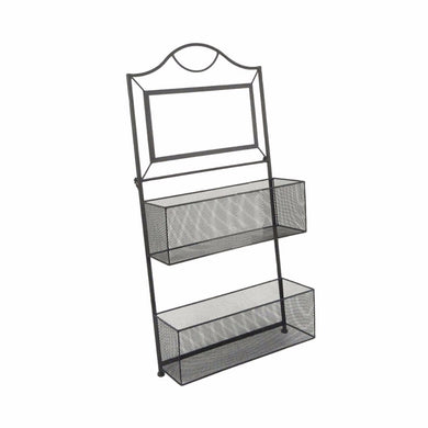 Contemporary Style 2- Tier Metal Wall Organizer, Black