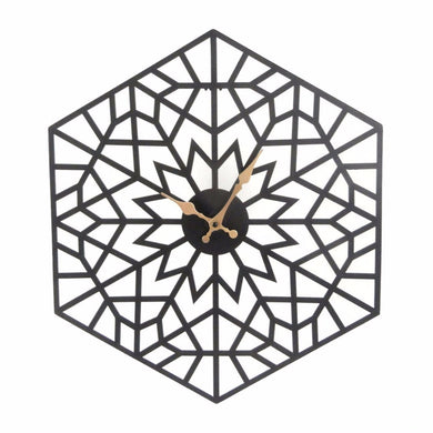 Modern Style Hexagonal Wall Clock, Black And Gold