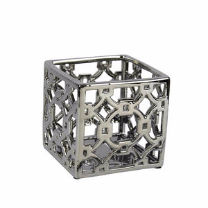 Square Shaped Ceramic Openwork Container, Silver
